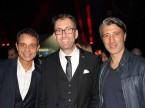 L'ancien président du FCB Bernhard Heusler, l'hôte Dieter Jermann et l'entraîneur du GC Murat Yakin